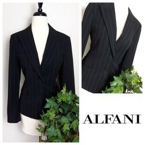 Alfani Fitted Pinstripe Black Career Lined Blazer